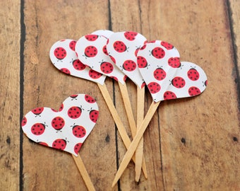 SALE-Lady Bug Heart CupCake Toppers // Set of 10 // Party Decor // Birthday Party Decoratoin // Party Picks // Food Picks