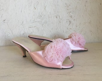Vintage Pink Satin Boudoir Mule Slippers w/Poof by All-Abouts Size 5