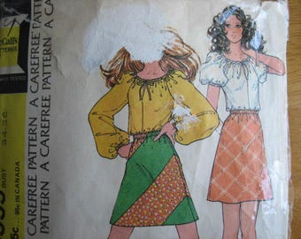 McCall's Pattern 3555 Misses' Skirt and Blouse      1973
