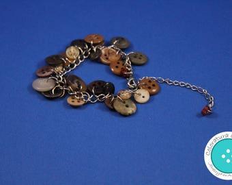 Vintage Button Charm Bracelet - Brown and Tan