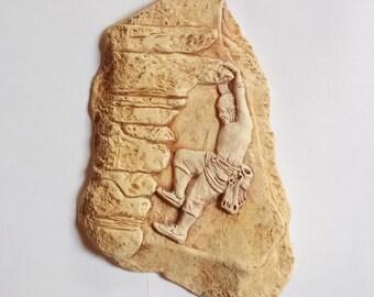 Male Rock Climber Ceramic Wall Hanging