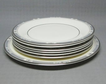 Royal Doulton MELISSA H 5087 , set of seven plates , one salad plate and 6 b&b plates ... Romance Collection 1982 , platinum band .