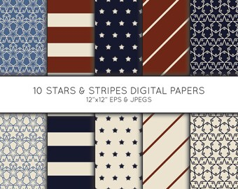 Vintage American Flag Digital Paper Clipart backgrounds—Seamless Patterns—Clip Art Set—Commercial Use—Digital Download Art—Vector Graphics