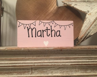 Handmade Wooden Sign, personalised wooden sign, child name, bunting, heart, star, door sign, room sign