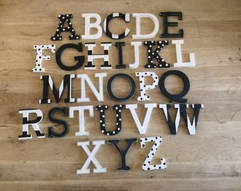 Full Wooden Alphabet - Hand Painted Wooden Letters Set - 26 letters - 12cm high - Rockwell Font