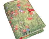 Handmade Large Bible Cover, Wild Flowers Poppy, Book Cover, Padded Bible Sleeve, for Hardback or Softback, UK Seller