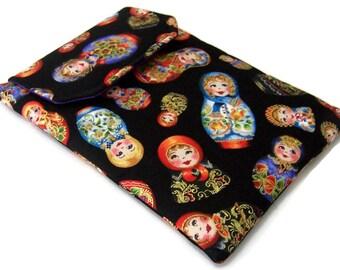 REDUCED in SALE, Kindle Sleeve, Handmade 7 inch Tablet Case, Matryoshka eReader Cover