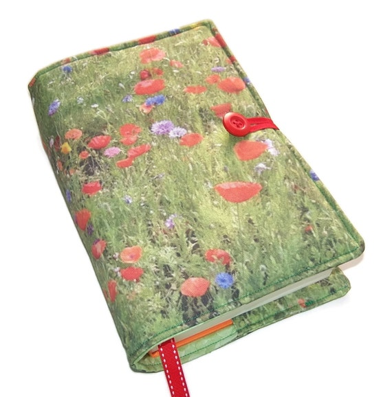 Handmade Slam Book Cover Page : Handmade large bible cover wild flowers poppy book