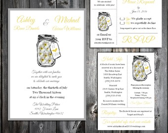 Mason Jar with Daisies Cyber Monday Sale Wedding Invitations Set.  Valued at over 600 dollars