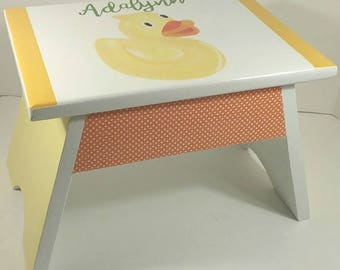 Nursery Footstool - Bathroom Step Stool - Duck Nursery - Step Stool - Nursery Step Stool - DREAMATHEME - Yellow and Orange
