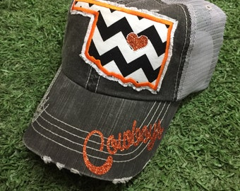 OSU Cowboys Oklahoma State Baseball Bling Ladies Womens Trucker Hat