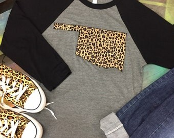 State of Oklahoma Baseball Raglan 3/4 sleeve Shirt T-shirt LEOPARD  CHEETAH print