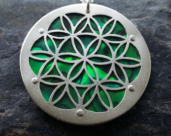 Large Green Flower of Life pendant on silver chain - Handcrafted Sacred Geometry Jewellery