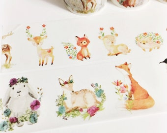 Gorgeous Watercolor Painted Baby Animals Woodland Creatures Floral Animals Washi Tape 5.5 yards 5 meters 40mm