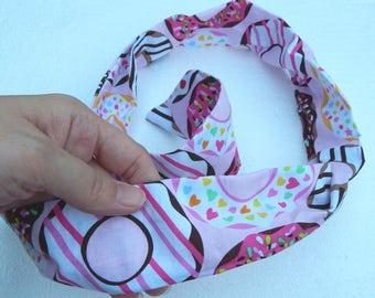 Kawaii donuts on baby pink wired hair accessory headband