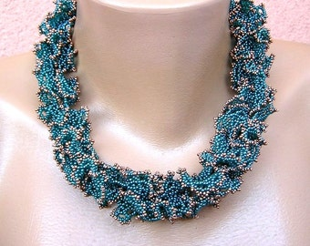 Beadweaving necklace/ Turquoise and Copper oglala/ Beadweaving lace/ Beadwork necklace/ Seed beads necklace/ Beadwoven netting