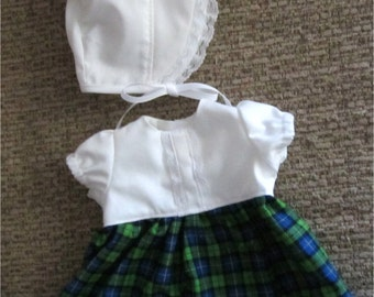 "Green Blue & White Plaid Dress with Bonnet  Fits Bitty Baby, Bitty Twin or Other 15"" Baby Dolls"