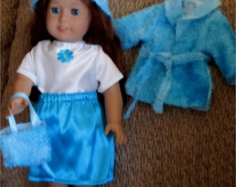 Bright Blue & White Skirt Jacket Top Hat Purse 5 Piece Baby Eyelash Set Fits American Girl or Similar 18 Inch Doll