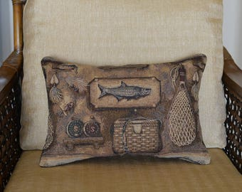 Fathers Day Gift LUMBAR PILLOW Tapestry 12 x 18 Fish Fishing Fisherman Sportsman Pillow Cabin Rustic Home Decor Dads Day Gift Outdoors