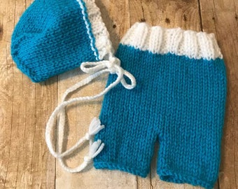 Newborn Hand Knit Turquoise and White Shorties and Bonnet Set, Newborn Photography Prop, Baby Boy Shorties, Ready To Ship, Baby Boy Pants
