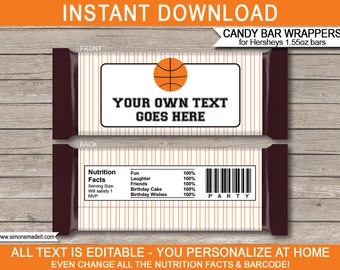 Basketball Theme Party - Candy Bar Wrappers - Party Favors - Chocolate Label - INSTANT DOWNLOAD with EDITABLE text - you personalize at home