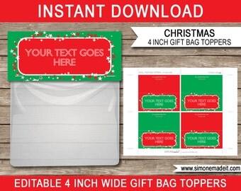 Christmas Bag Toppers - Christmas Gift Tags - Printable Christmas Tags - Christmas Gifts -  4 inches wide - INSTANT DOWNLOAD - EDITABLE text