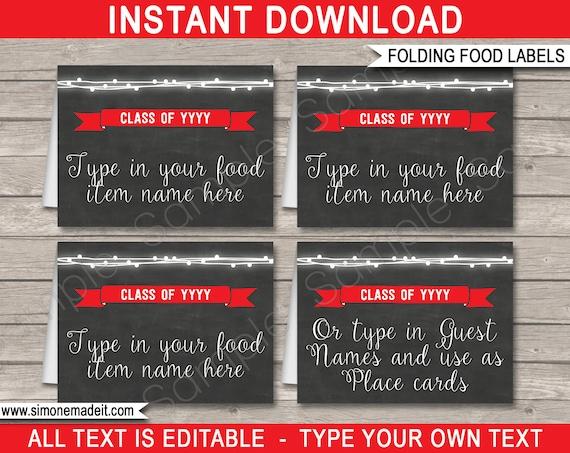 graduation food labels graduation placecards folding
