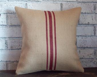 Grainsack Pillow Cover, Decorative Pillow Cover, Choice of Colors, Burlap Pillow Cover, Striped Pillow, Vintage Style Home Decor Pillow