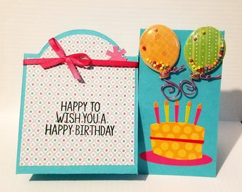 Handmade Birthday Card, for little girl,  for women, birthday wishes,  balloons, cake, celebration, birthday greetings