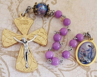 One Decade Rosary, Guardian Angel, Gold & Silver, Light Purple Mountain Jade, Tenner, Strong, Stainless Steel, Gemstone, Angel,Pocket Rosary