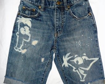 boys distressed Phineas & Ferb cut off shorts * Size 8 ** bleached