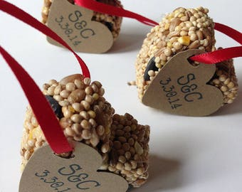25 Bird Seed Heart Shaped Favors MINI- Wedding and Events