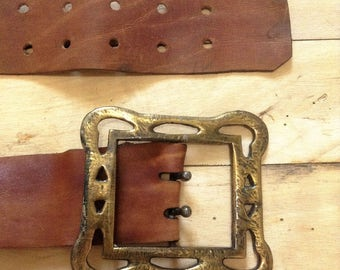 French 1970s Wide Leather Genuine Belt & Oversized Brass Belt Buckle - Gothic Fantasy Style - Unique !
