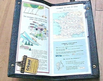 French Le Tanneur 1950s Travel Map / Book Holder Cover Wrist Bag - French Map Included - Black Leather - New & Tag