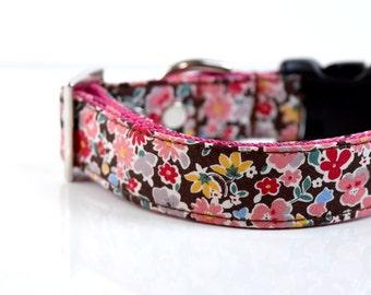 Spring Floral Dog Collar - Brown, pink, yellow