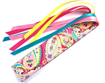 Ribbon Bookmark - Floral Paisley Theme Jacquard - Pink, Teal, Green, Red & Yellow - Satin Ribbon Tassel