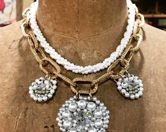 OOAK Vintage Bridal Necklace Pearl Chain