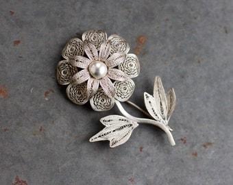 Filigree Flower Lapel Pin - Sterling Silver Daisy Brooch