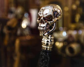 SKULL WALKING STICK gothic style authors made top handle cane 999 silver coating with high quality rubber tip