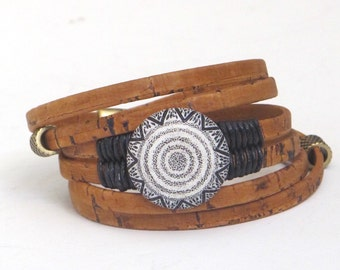 Cork and Stone, Natural Cork Wrap, Whirly Wrap bracelet, faux stone tribal black white button, black linen wrapped, boho style, secure magne