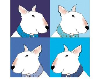 Bull Terrier Card Pop Art style in Blue