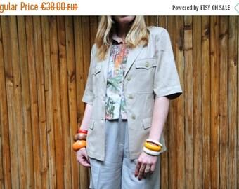 50%WINTERSALE 90s CACHAREL beige cotton military blazer safari summer jacket M