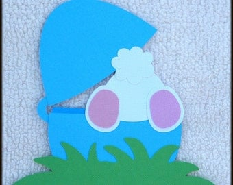 Die Cut Easter Bunny Tail BLUE Premade Paper Piecing Embellishment for Card Making Scrapbook or Paper Crafts