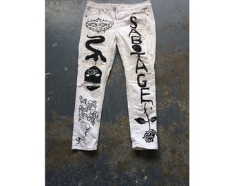 White ripped Sabotage snake pussy riot pants