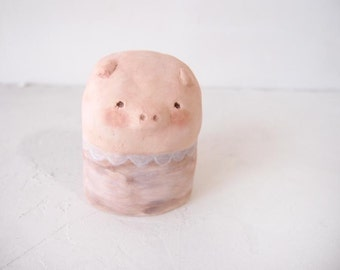 Miniature pig ceramic sculpture