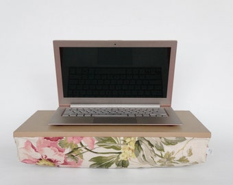 Romantic peony lapdesk with pillow, Laptop stand- pastel nude tray with peony pattern pillow