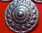 7 Vintage silver, pewter metal buttons, quite a silvery color, not dull. Norse shield style design. Solid. Self shank. UNK/P10.11-12.3-11.6