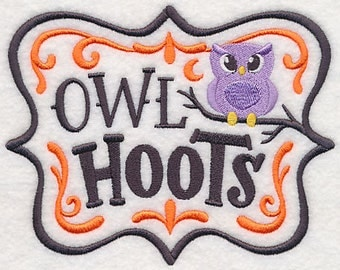 Apothecary Owl Hoots Embroidered Flour Sack Hand/Dish Towel