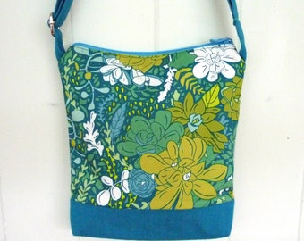 Blue floral crossbody bag, boho hip purse, aqua blue cross body bag, adjustable sling purse, vegan green, festival bag, summer purse