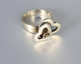 Modernist Kinetic Ring, Sterling silver Diamond Heart size 8 ring, vintage designer jewelry
